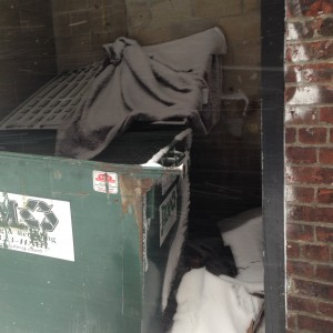 A person's camp behind a dumpster, Back Bay